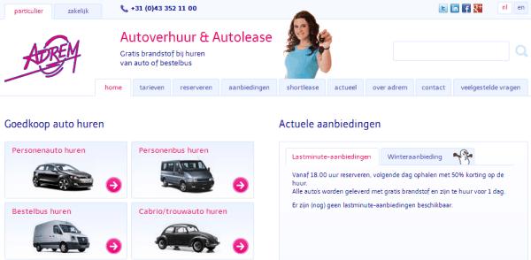 Tagline op website Adrem Autoverhuur Limburg