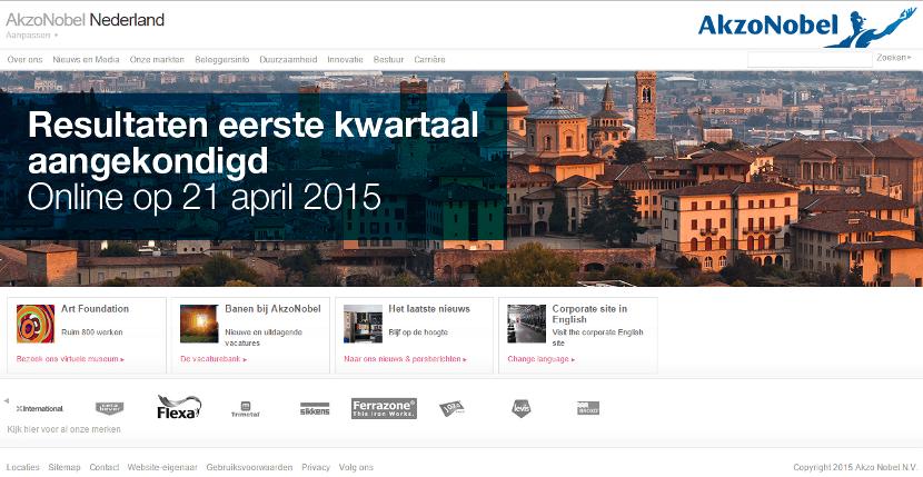 Usability homepage AkzoNobel (klik om te vergroten)
