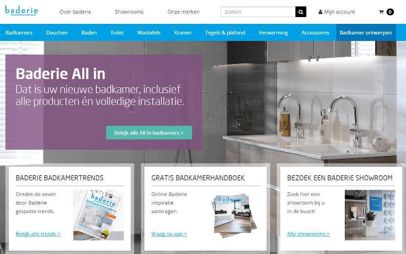 Usability Baderie homepage (klik om te vergroten)