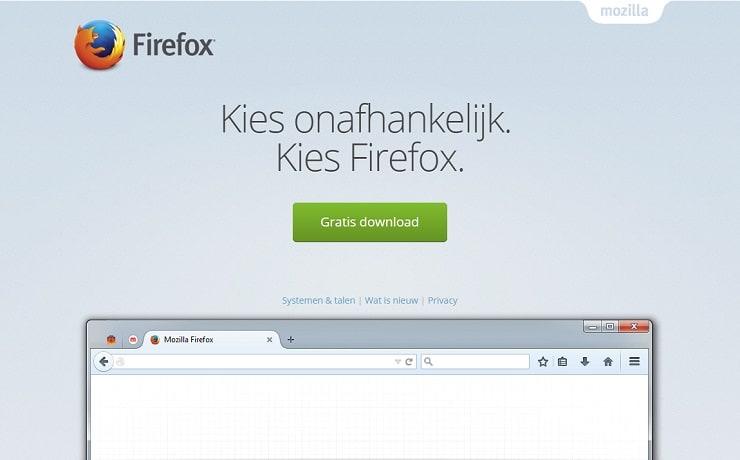 Banaan op de homepage van Firefox