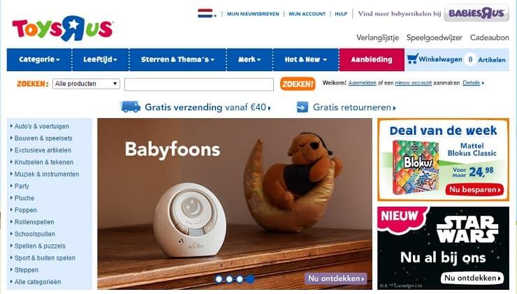 Tros bananen op de homepage van ToysRus