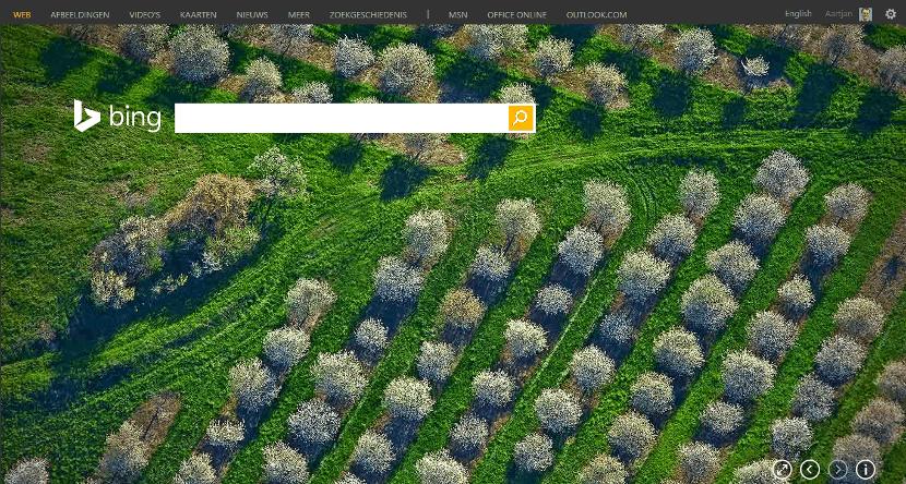 Bing homepage (klik om te vergroten)