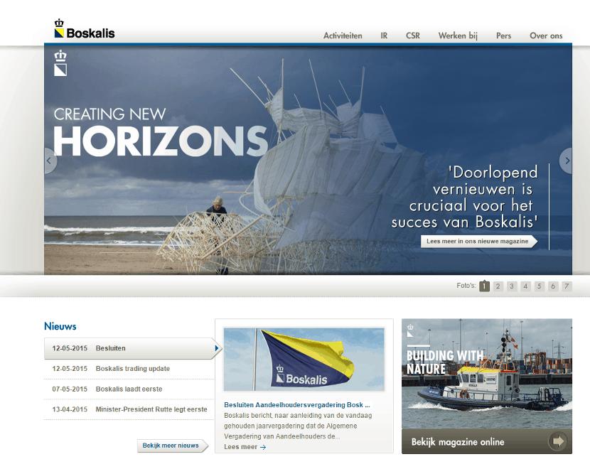 Nieuwe Boskalis homepage (klik om te vergroten)