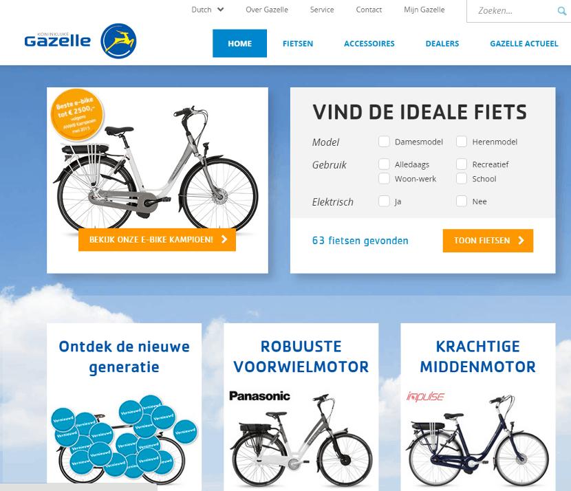 Usability homepage Gazelle (klik om te vergroten)