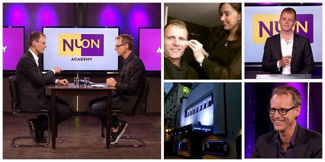 Talkshow vanuit TV-studio Desmet van de Nuon Academy voor ondernemers, met presentator Ronnie Overgoor en gast Aartjan van Erkel
