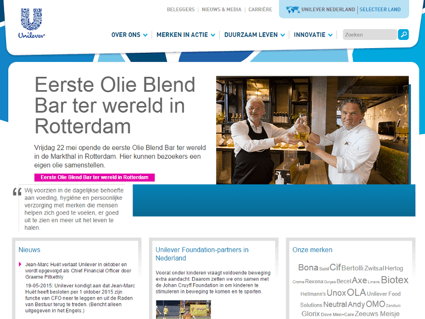 Unilever homepage (klik om te vergroten)