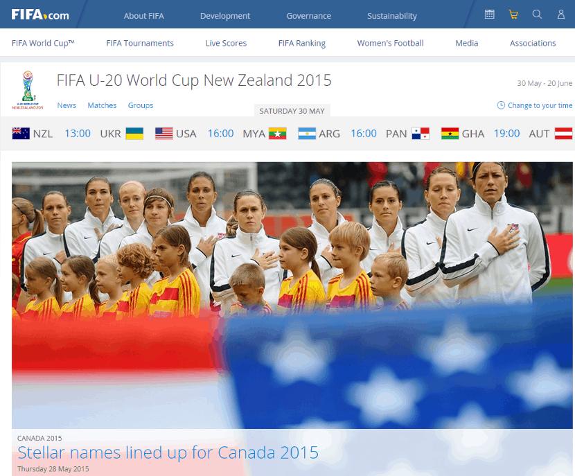 Usability FIFA homepage