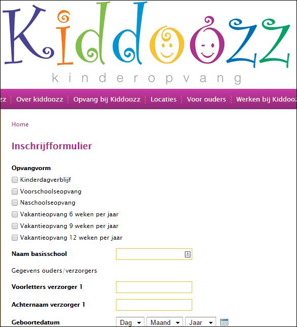 Webformulier Kiddoozz